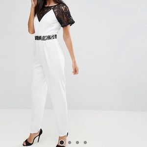 NWT asos paper dolls white lace & black jumpsuit